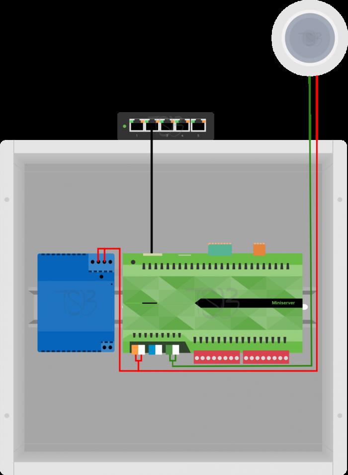Installation Diagram of Loxone Flush Motion Sensor Tree White